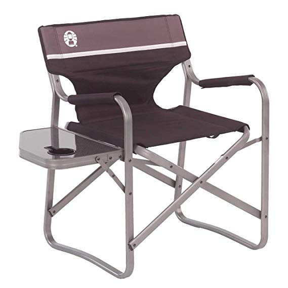 Amazon Com Coleman Camp Chair With Side Table Folding Beach Chair Portable Deck Chair For Tailgatin Coleman Camping Chairs Folding Beach Chair Deck Chairs
