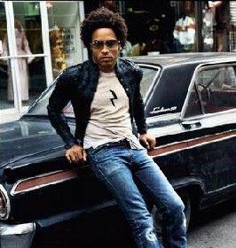 Lenny Kravitz Posing In Front Of Vintage Car
