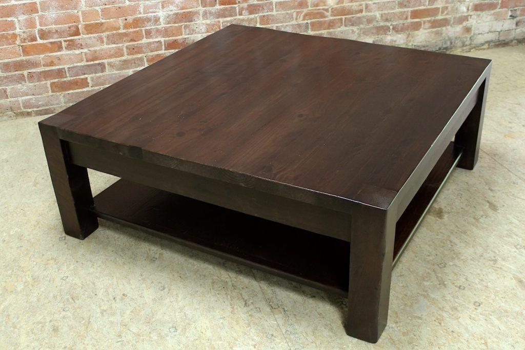 dark wood square coffee table