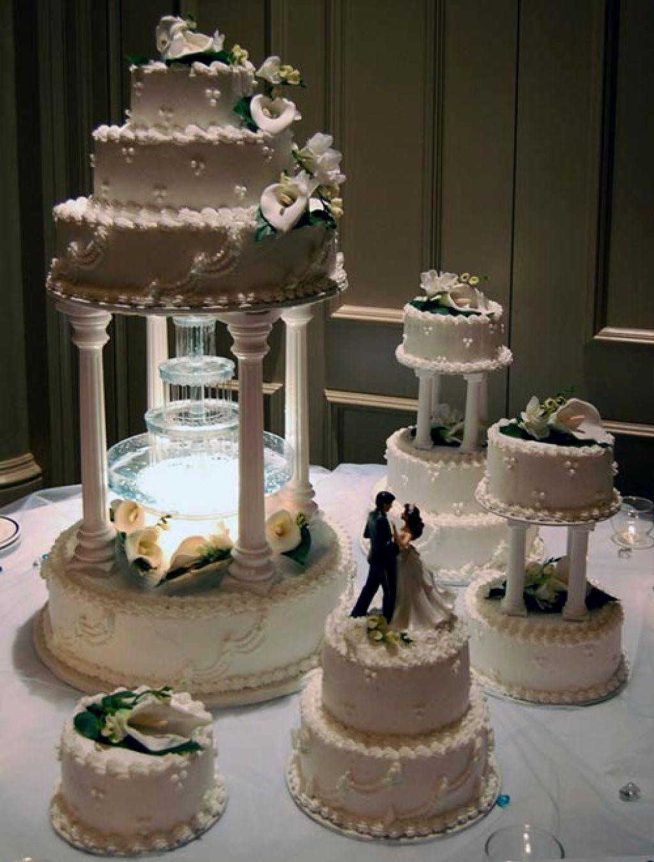 Wedding Cakes With Fountains And Lights Pasteles De Boda Tradicionales Eventos Bizcochos
