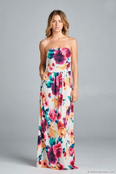 338cc017a4 Watercolor Strapless Tube Floral Maxi Dress with Pockets-White Multi-Color