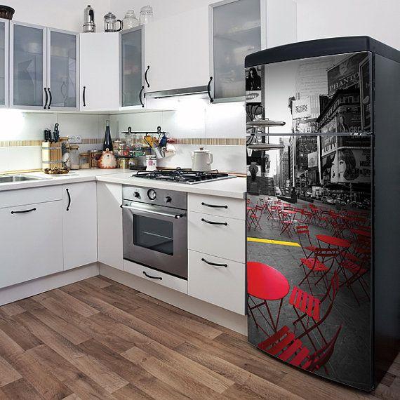 Discount Kitchen Cabinets Houston: New York Time... Vinyl Fridge Decal