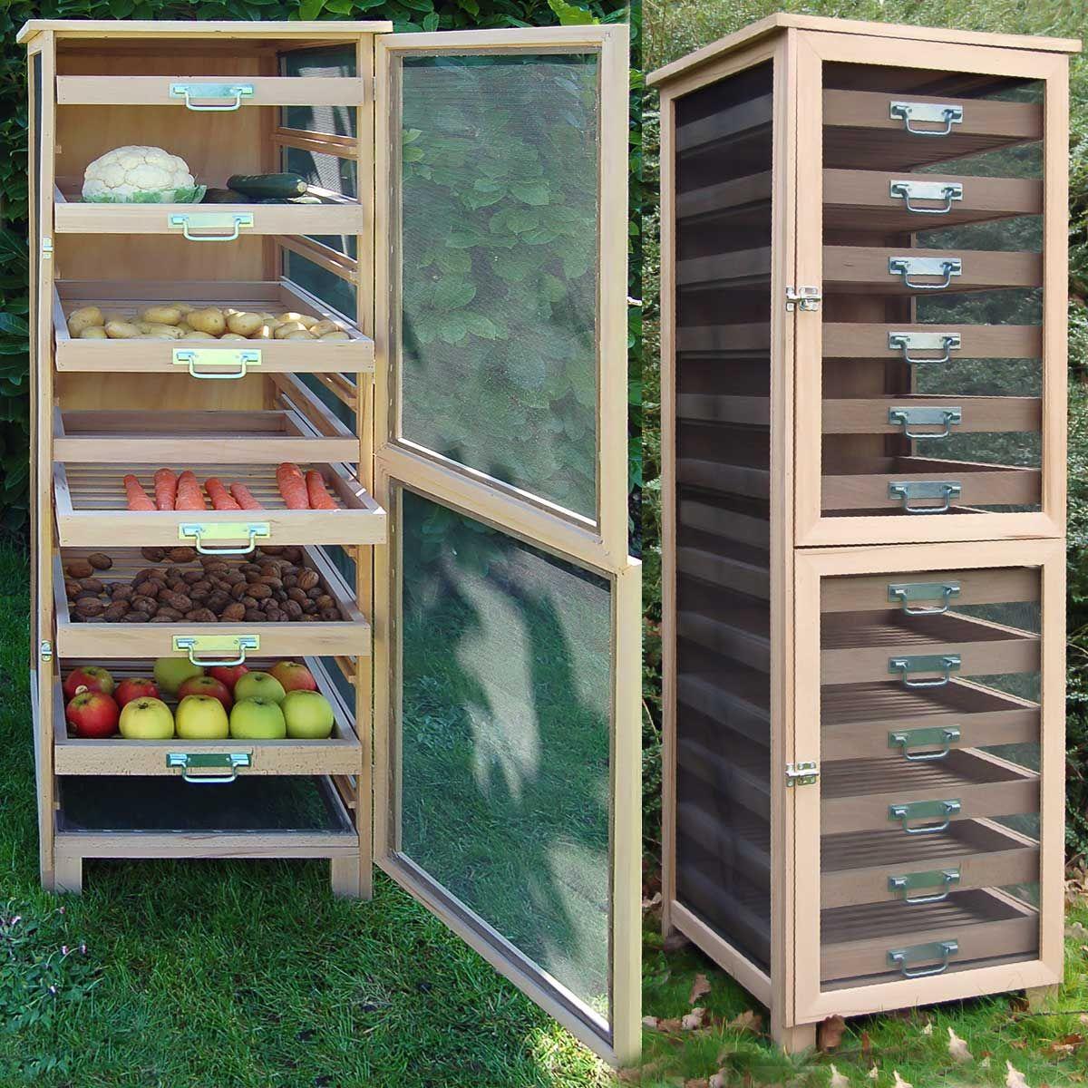 Rangement Fruits Et Légumes: Meuble Légumier Fruitier En Bois 6 Tiroirs