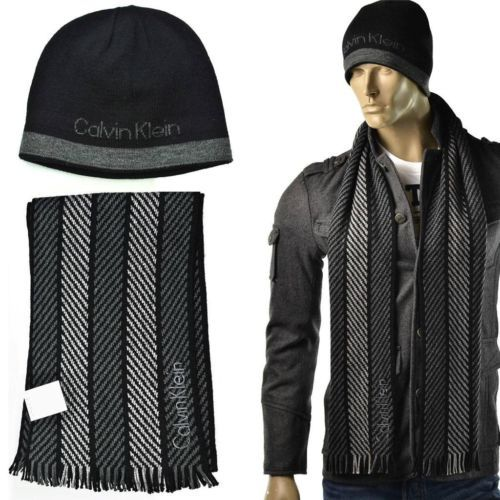 Calvin Klein Neck Scarf  amp  Hat Set Mens Reversible CK Beanie Cap One  Size NEW bcacb0a9e77