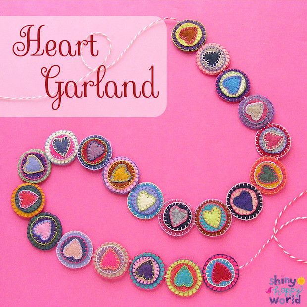 Turn pretty felt scraps into charming Valentine's Day decor with this felt scrap heart garland project!
