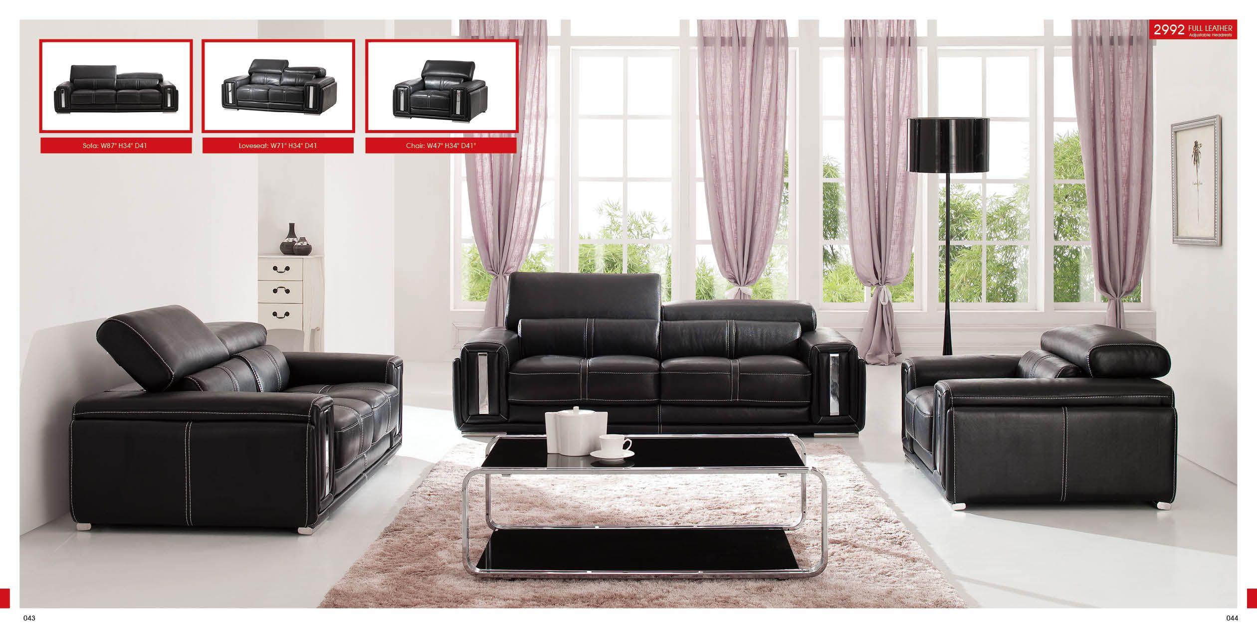 Esf 2992 Black Leather Modern Sofa Set Furniture Design Living