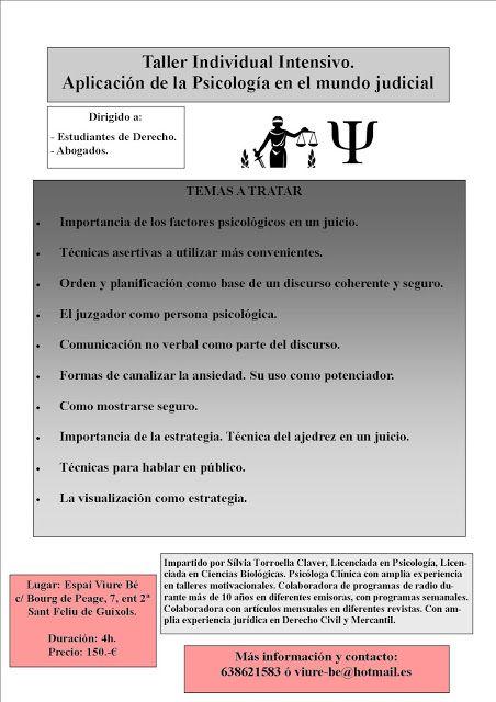 Taller Individual Intensivo Aplicación De La Psicología En El Mundo Judicial Psicologia Taller Verbal