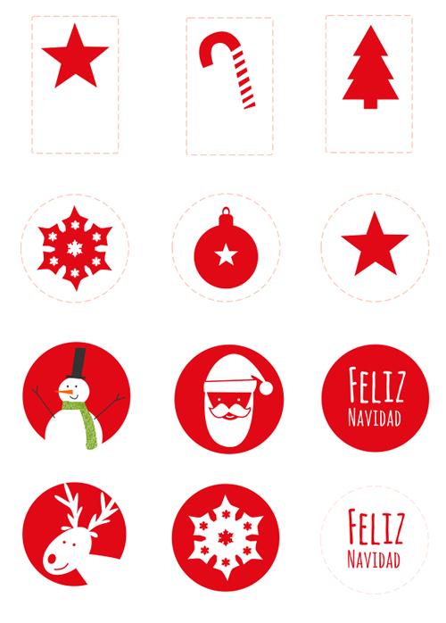 Pegatinas de navidad imprimibles etiquetas navidad - Plantillas adornos navidenos ...