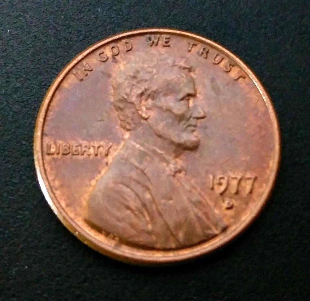 1977-D 1C Penny Error D/D Lincoln Cent Rd Rainbow Toned | Coins
