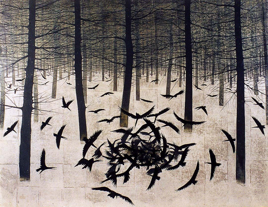 Kayama Matazo - Frozen Forest.  Love the flow and the squares seem to add another dimension.