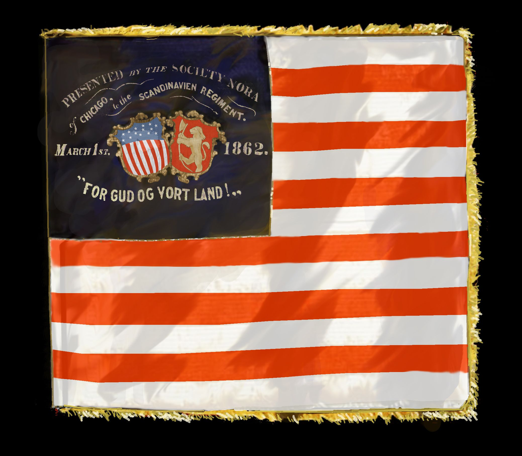 15th Wisconsin Scandinavian Regiment Flag This Flag Was Presented To The Regiment In Chicago March 2nd 1862 Civil War Flags Civil War Art Civil War History