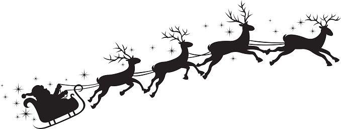 Santa 39 S Sleigh Vector Art Illustration Santa Sleigh Silhouette Silhouette Clip Art Reindeer Silhouette