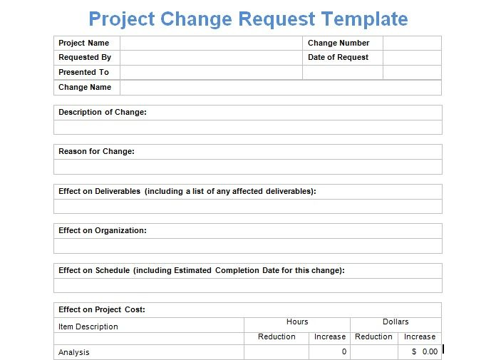 Project Change Request Template Exceltemple