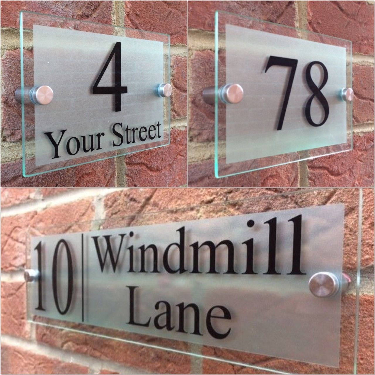 DOOR Contemporary HOUSE SIGN GLASS EFFECT ACRYLIC PLAQUE NUMBERS