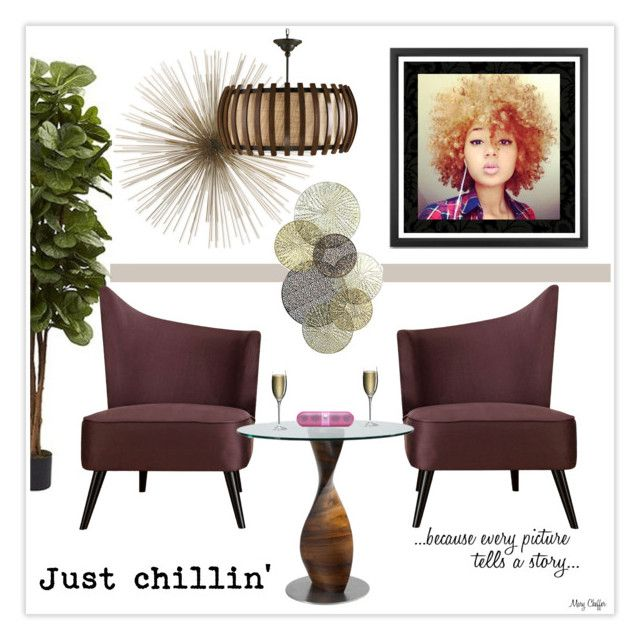 """""""Just chillin' - I wish ..."""" by mcheffer ❤ liked on Polyvore featuring interior, interiors, interior design, home, home decor, interior decorating, Nearly Natural, York Wallcoverings and Ravenscroft"""