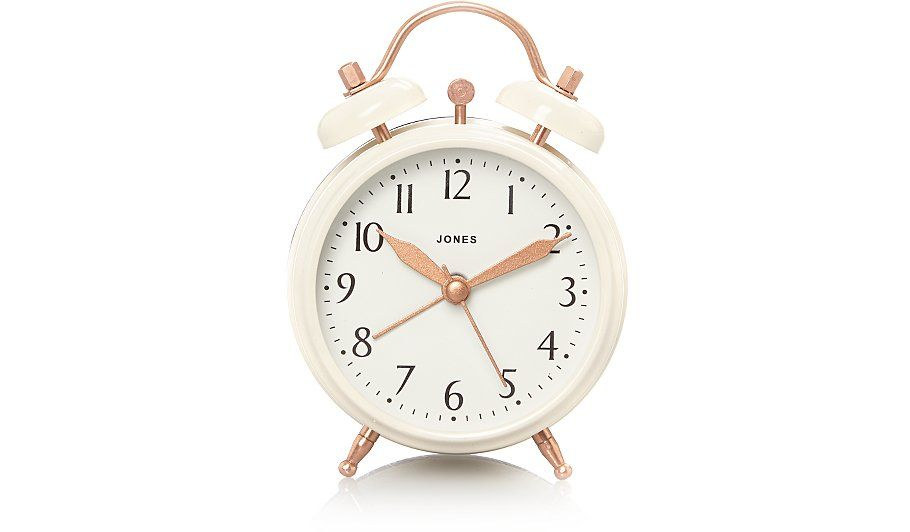 Compact Yet Functional This Jones Clock Boasts Modern Appeal Deigned With Copper Accents And A Classic Face It Ll Make A Stylish Sta Clock Alarm Clock Alarm