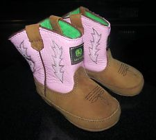 Johnny Poppers Baby Toddler Size 4 John Deere Boots Pink Brown & Green Cowboy