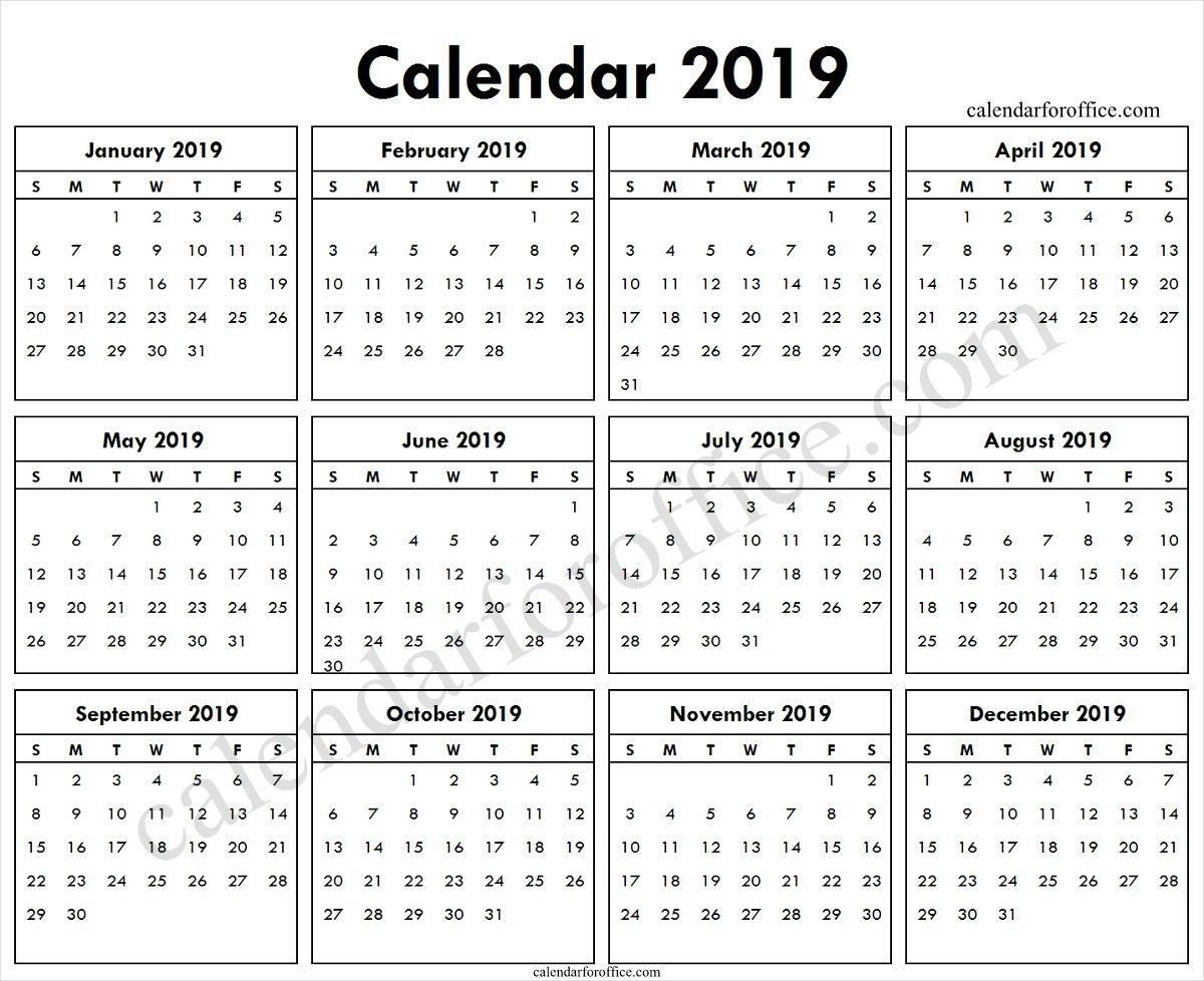 2019 One Page Calendar Holidays Template Calendar Printables