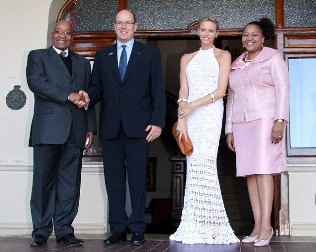 On July 6, 2011, T.S.H.s Princess Charlene and Prince Albert II of Monaco had lunch with the president of South Africa, Jacob Zuma, and his lovely wife Thobeka Madiba, at the King's House in Durban, South Africa. The couple are in town for three reasons:  The IOC meetings in which H.S.H. Prince Albert II is a member, to throw another lavish wedding celebration, on Thursday at the famous Oyster Box hotel, in the princess's former home country, and finally to begin their honeymoon.