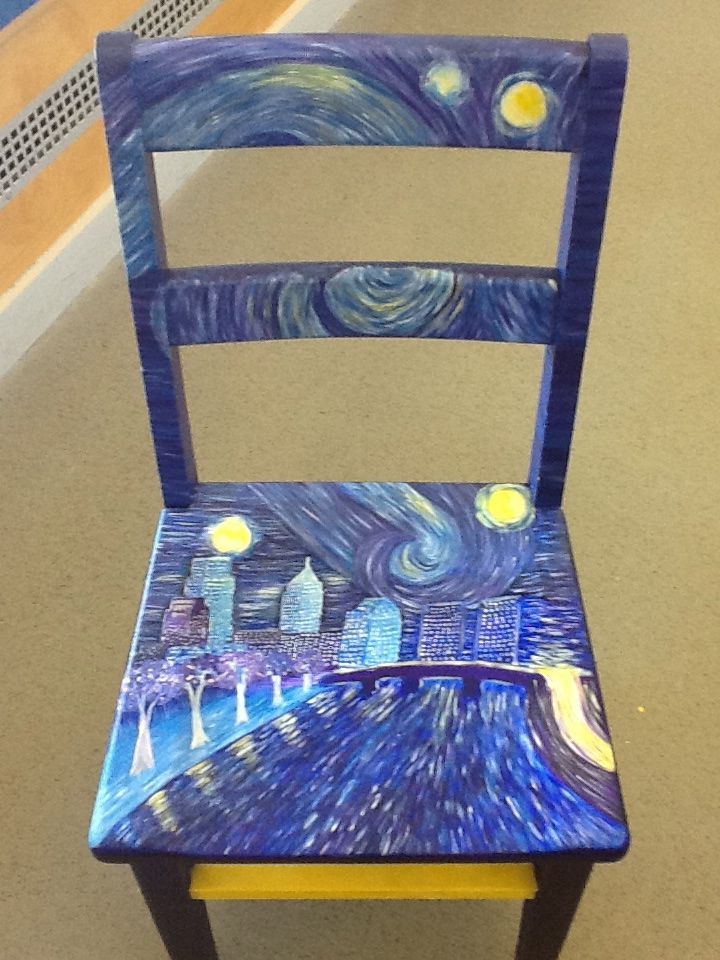 Van Gogh Inspired Painted Chair Artistic Furniture Painted Chair Painted Furniture