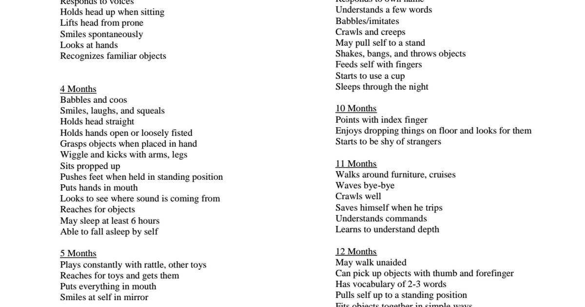 Development Milestones List pdf   Child Development