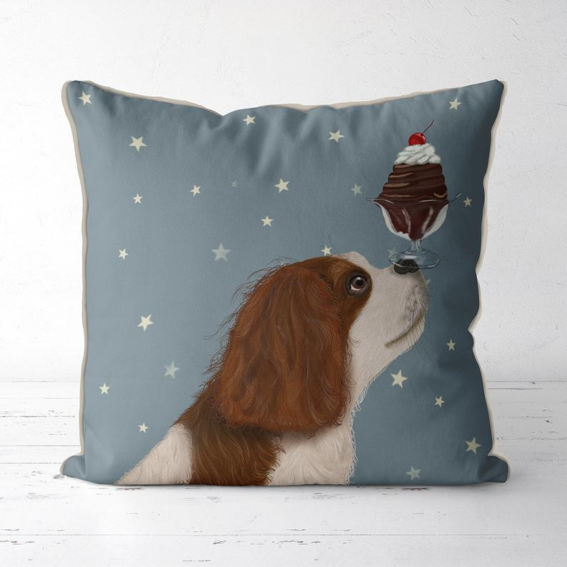 Cavalier King Charles spaniel pillow spaniel gifts wife gift funny dog gift for dog owner Animal pillow Animal cushion Ice Cream uk shops