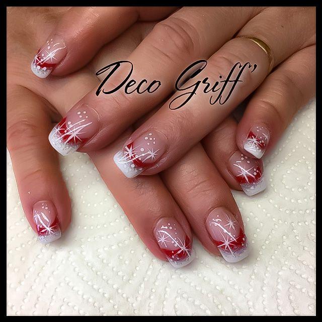French rouge et blanc Deco fêtes de Noël Nail art classe et
