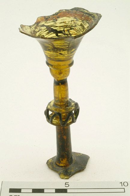Goblet Production Date: Medieval; 13th-14th century Measurements: H 145 mm; W 70 mm; L (stem) 100 mm Materials: glass