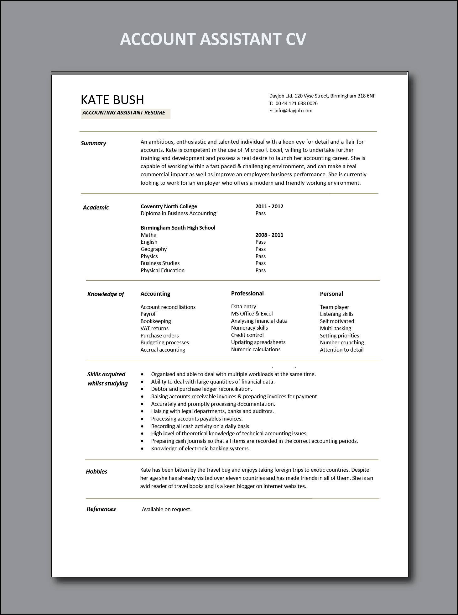 accounts assistant CV, Cashbook reconciliations, resume
