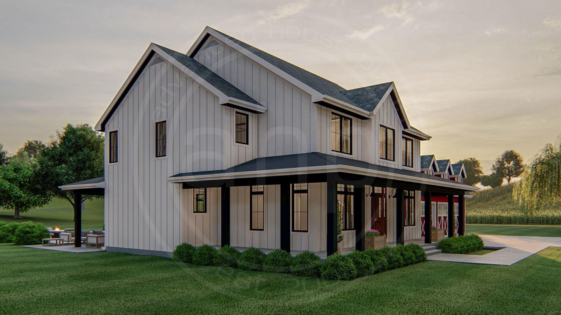 2 Story Modern Farmhouse Plan Austin Farmhouse Plans Modern