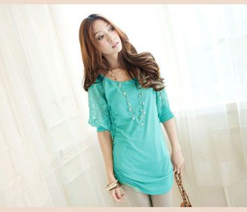 Women's Lace Half Sleeves Long T-shirt Green on BuyTrends.com, only price $8.34