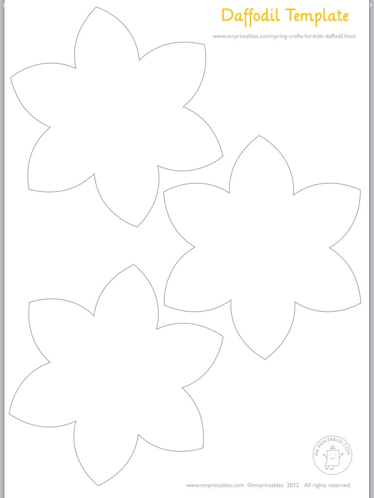 Daffodils flowers clipart black and for Template of a daffodil