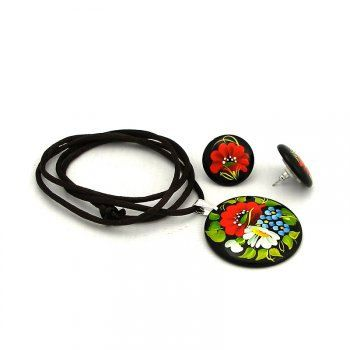 Earrings and Coulomb (Pendant ) wooden hand-painted flowers oil paints. Gift for girl.