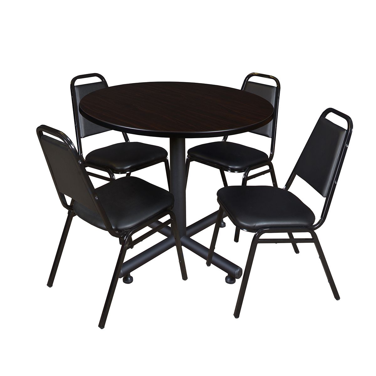 Regency Seating Kobe Wood/Metal/ 42-inch Round Table With 4 Black Stackable Restaurant Chairs