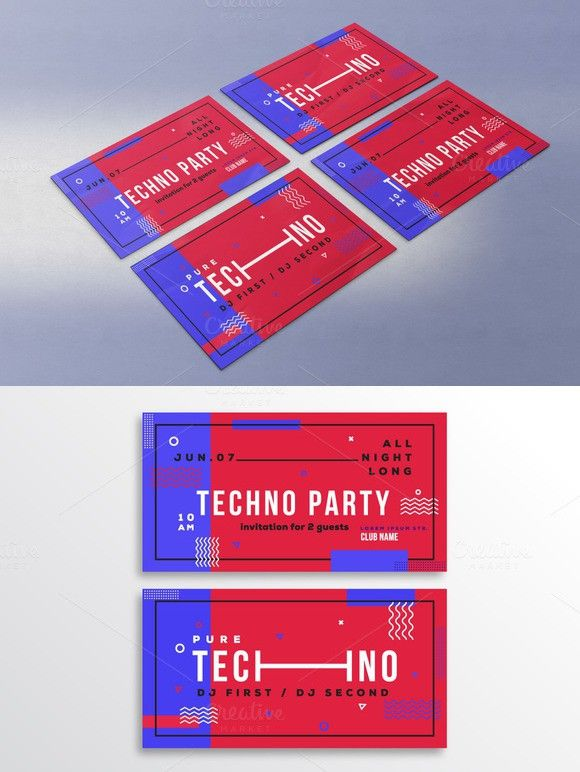 Techno party invitation template Techno party, Party invitation - business invitations templates