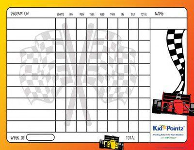 Printable Kids Chart  Vehicles Theme  Kid Pointz  For The Kids