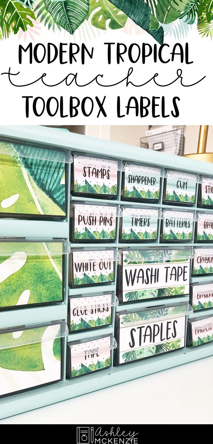 Modern Tropical Teacher Toolbox Labels -Editable #elementaryclassroomdecor
