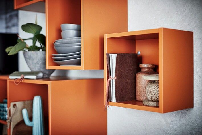 die neuen regale im farbton orange bringen farbe in die küche ... - Küchen Regale Holz