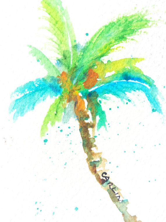 Original Watercolor Coconut Palm Tree Aceo By Carlinartwatercolor