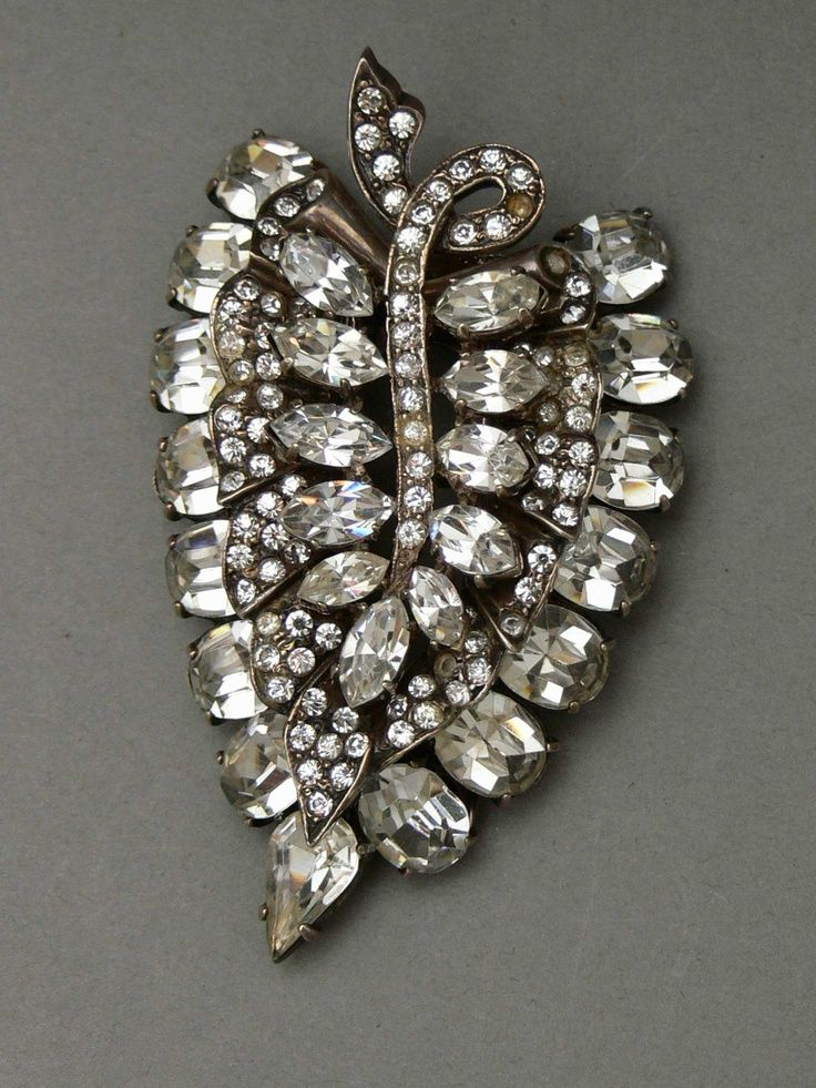 Eisenberg Jewelry Heavy Sterling leaf pin clip by