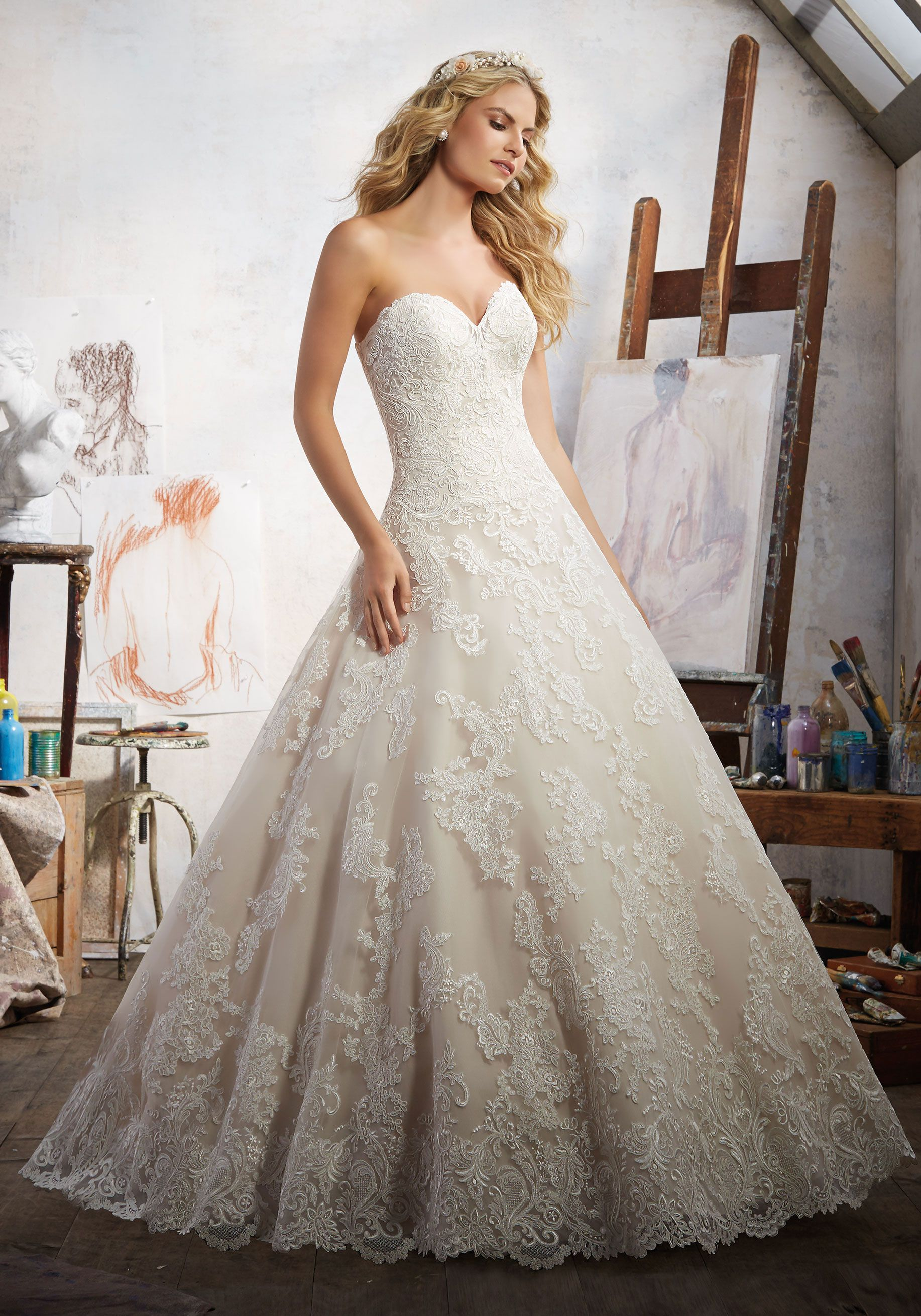 Elegant Morilee by Madeline Gardner uMagdalena u Alen on Lace Appliqu s Accent this Classic Lace Bridal