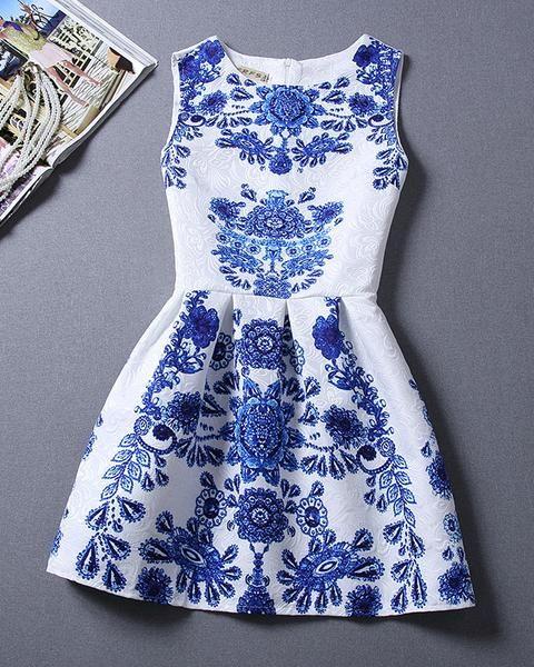 #1060 Blue And White Porcelain Printed Sleeveless Dress