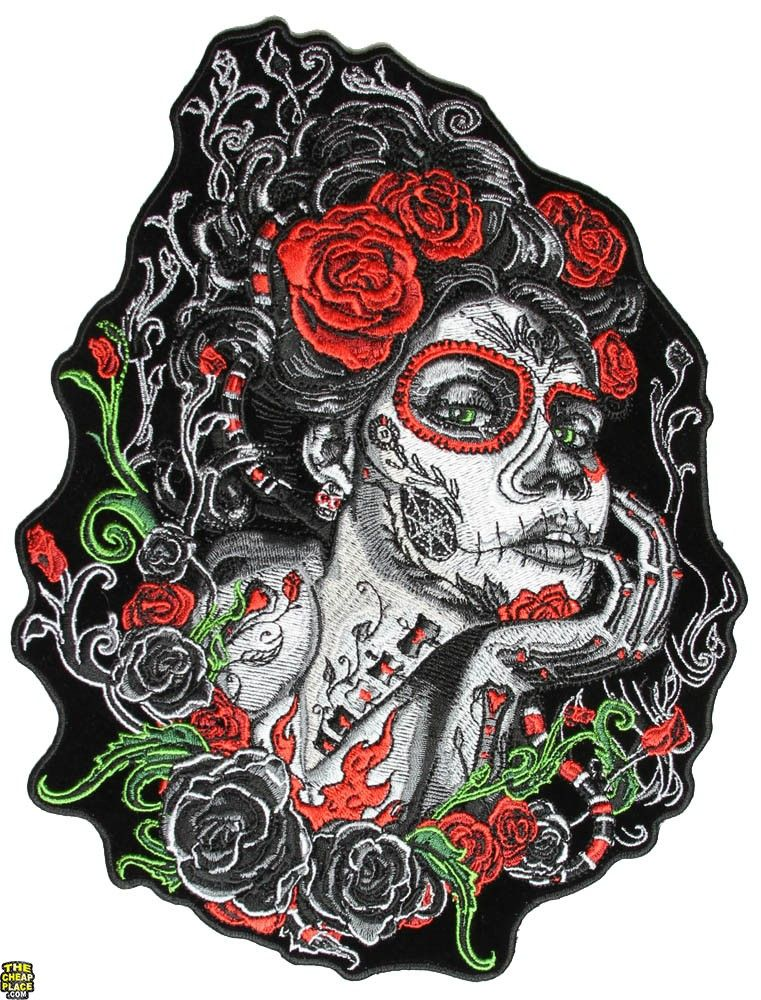 Sugar Lady Red Roses And Green Vibes Large Back Patch Embroidered Patches Face Patches Sugar Skull