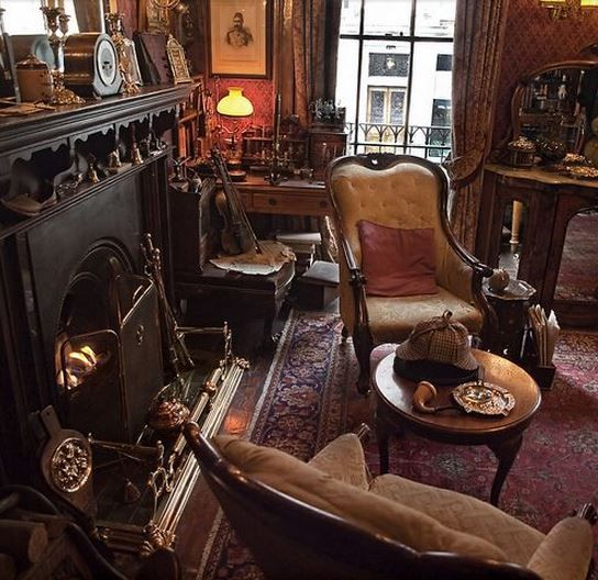 victorian parlour | Totally Sherlock 's flat. Look at that deerstalker on the coffee table