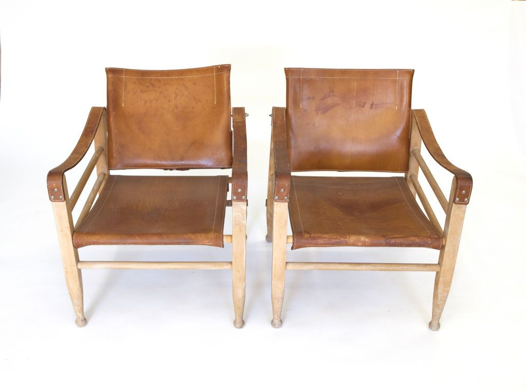 Pair Of Leather Safari Chairs