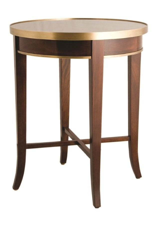 F113 Round Cherrywood Side Table With Brass Trim Consoles Hall