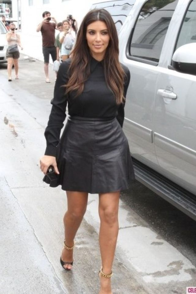 bd063a25aa Black shirt and black leather skirt