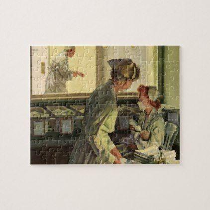 Vintage medicine nurses with newborn baby infants jigsaw puzzle negle Choice Image