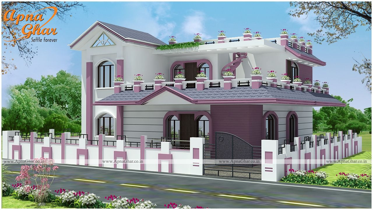 lavish duplex house elevation by apna ghar connect with our