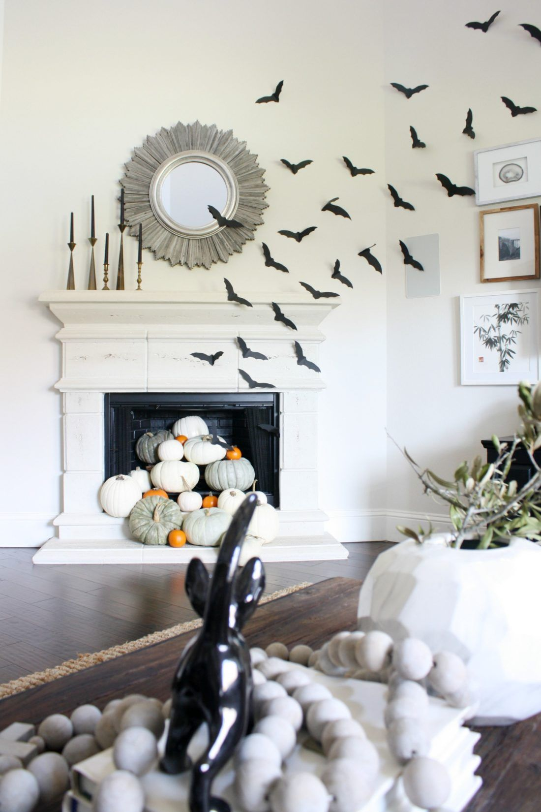 Simple Decorations Crazy Wonderful Paper Bats Bat Decor Pumpkins In Fireplace Mantle Ideas